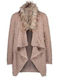 Yying Invierno Mujer Casual Cuello de Piel Suelta suéter Chaqueta Abrigo Largo de Gran tamaño de