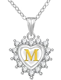 Jewelscart Silver Plated AD Alphabet Letter M Valentine Heart Pendant With Chain