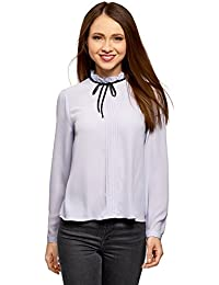 oodji Ultra Mujer Blusa con Cordones Decorativos y Volantes EN el Cuello