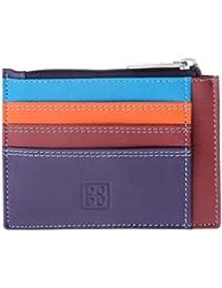 Porta documentos tarjetas en verdadera piel colorada carteras con cremallera DUDU Violeta