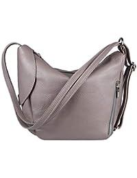 9070f1e342ac4d OBC Made IN Italy 2in1 Damen Echt Leder Tasche Rucksack Schultertasche  Umhängetasche Crossbody Handtasche Henkeltasche Shopper…