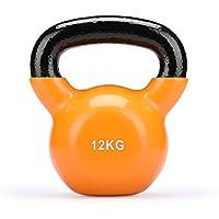 Fithalt Kettlebell Oscilante Pesas Rusas de Hierro Fundido con Revestimiento de Vinilo para el Entrenamiento de Fuerza Mancuerna para Musculación (Naranja 12Kg)
