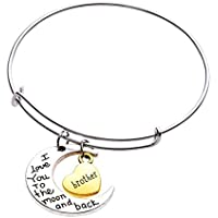 Gluckliy I Love You to the Moon and Back Brother Armband mit Mond Herz Anhänger Armbänder Armreif