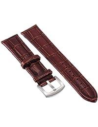 Piel Auténtica de 20mm, color marrón hebilla de pasadores de acero inoxidable reloj banda correa de reloj
