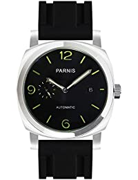 2fc781d097cf PARNIS 9068 clásica de acero inoxidable automático de reloj 5bar Reloj de  pulsera de caucho de 44 mm Cristal Mineral Hombre Al Agua…