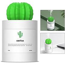 Humidificador, OCHO8 mini USB Humidificador cactus 280ml, decoración creativa para hogar, oficina, yoga, spa, dormitorio, sala de estar, dormitorio, baño o hotel
