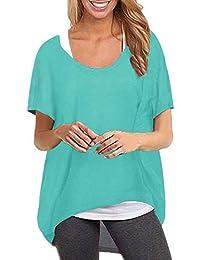 ZANZEA Camiseta Mujer Manga Corta Suelta Tops Irregular Tallas Grandes T-Shirt Cuello Redondo Casual Túnica Blusa Pollover