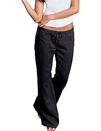 Pantalones de Mujer, ✽Internet✽ Pantalones Harem Mujeres Pantalones De Pierna Ancha Casual Pantalones Casuales (Negro, L)