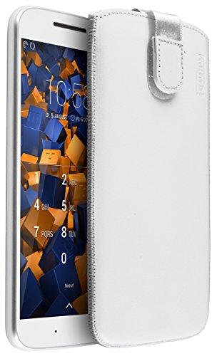 mumbi ECHT Ledertasche für Motorola Moto G4 / G4 Plus Tasche Leder Etui weiss (Lasche mit Rückzugfunktion Ausziehhilfe)