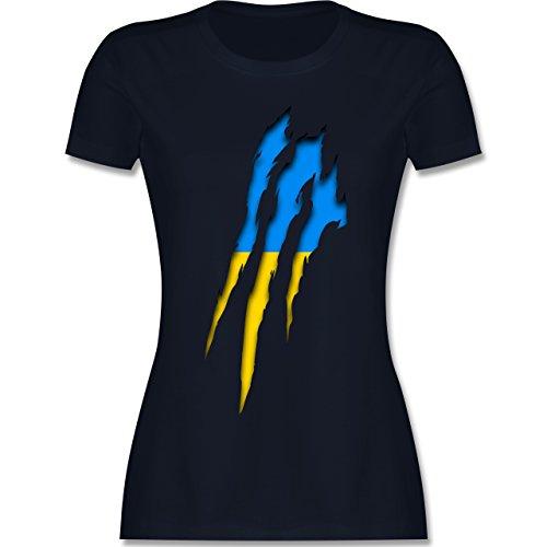 Shirtracer Länder - Ukraine Krallenspuren - Damen T-Shirt Rundhals Navy Blau