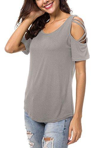 NICIAS Damen Sommer Kurzarm Rundhalsausschnitt T-Shirt Schmales Strappy Cold Shoulder Oberteil Lässige Tunika Tops Bluse Shirt(Grau,L) (Bluse Top Tunika)