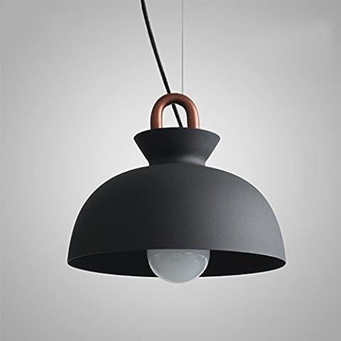 GBT Iron Coil Kronleuchter, Romantische Industrie Wind Einfache Restaurant Licht Retro Bar Counter Schlafzimmer Licht Cafe Kronleuchter (Farbe: Schwarz-25 * 22Cm),Schwarz-28 * 22CM