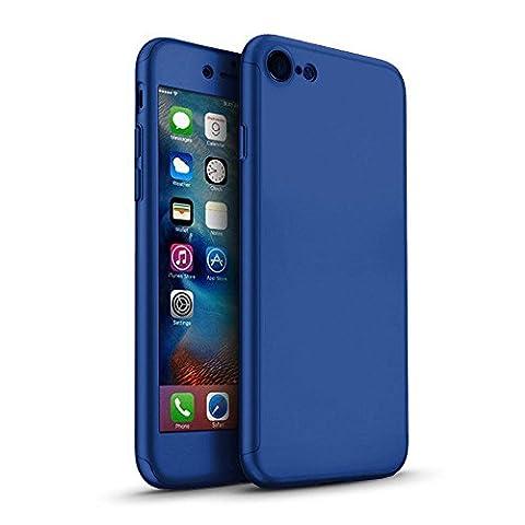 iPhone 6 Plus 360 Degres + Protection en Verre Trempé, [360 °] [ Bleu ]Coque de protection avant et arrière cases iPhone 6 Plus Integrale pour iPhone 6 Plus