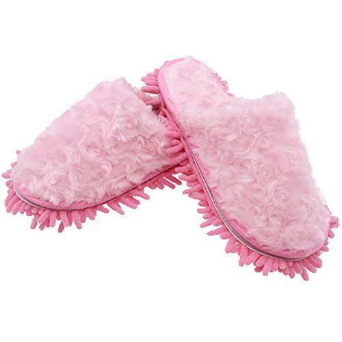 Selric® Mullido Zapatillas Mopa Rosado, Zapatos Desmontables y Lavables Para Mujer , Pantuflas de fibra para limpieza de polvo,ultra ligero zapatos de interior 25cm [tamaño EU:36-39]