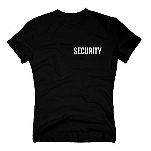 Shirt Department - Herren T-Shirt - Security beidseitig Bedruckt - Kleiner Brustdruck, großer Aufdruck auf dem Rücken - schwarz-Weiss 3XL