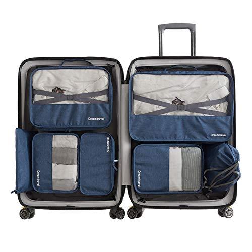 Set 7 Cubi per imballaggio 3 Cubi per imballaggio e 2 buste e 1 busta per biancheria intima e 1 borsa per scarpe(Blue)