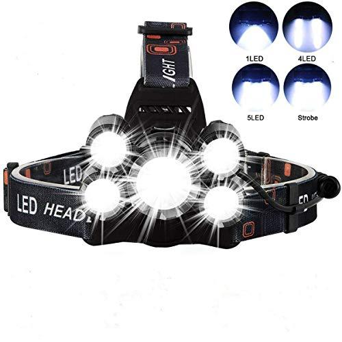 LED Stirnlampe, Six Foxes Wasserdicht LED Kopflampe 5000 Lumen Wiederaufladbare Headlight, 4 Helligkeiten, 90° Verstellbar, Fokusverstellbar Stirnlampen für Laufen, Radfahren, Wandern, Camping, Angeln