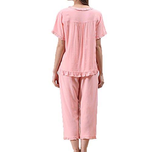 YUYU Femmes Coton Confortable Manches courtes Chemise de nuit Jeans/Pantalons Mous Assouplies Chemise de nuit poids léger Col rond Pyjama Pink