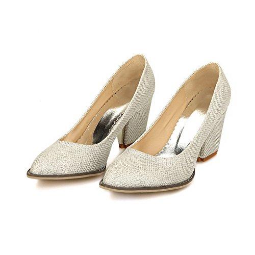 VogueZone009 Femme Pu Cuir à Talon Haut Pointu Couleur Unie Tire Chaussures Légeres Argent