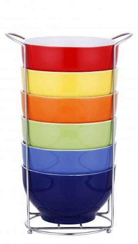 Quantio - Ciotole per cereali, set da 7 pezzi Ciotole per cereali in ceramica, 6 tazze con supporto verticale, ciotole per dessert