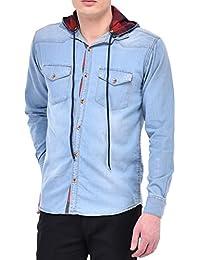 Lafantar Men's Hooded Casual Shirt (Blue)