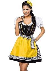 Traditionelles Minidirndl mit Bluse und Schürze - Trachten Jeans Kleid Dirndl in 4 Varianten - Gr. XS - XXXL