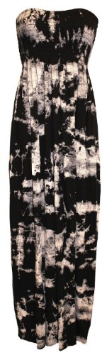 Nuovo donna obiettiamo boobtube Maxi-vestito saffico Tipo di lunga Maxi stampa istituzione taglia S/m estate dell'abito - m/l Krawatte und Farbstoff