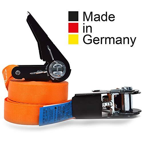 2er Set KFI-Ziegler qualitätsgeprüfte Spanngurte mit Ratsche | Länge: 4 m | Ratschengurt einteilig nach EN 12195-2 | Zurrgurte 400/800 kg