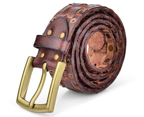 V.Empire Herren-Gürtel aus echtem Leder, für Freizeit, Jeans, Kleid, Hosen, Designer-Look, Western-Gürtel für Herren, für den täglichen Gebrauch - Braun - 91 cm Taille
