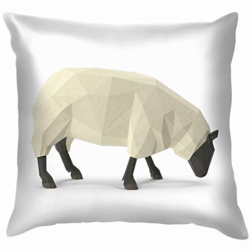 beautiful& White Sheep Eating Low Poly Style 3D Animals Wildlife Throw Pillow Case Cushion Cover Pillowcase Watercolor for Couch 18X18 Inch
