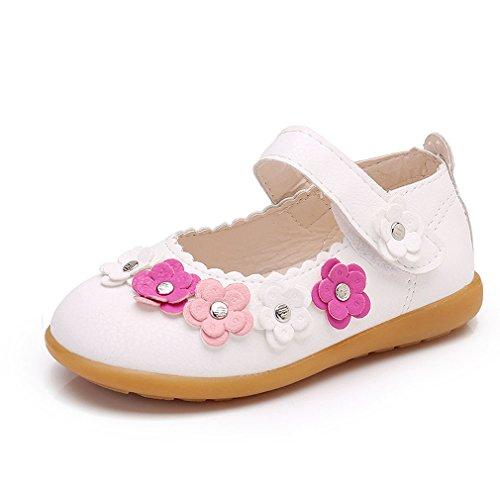 he Sohlen Mary Jane Halbschuhe Leder Prinzessin Schuhe Baby Blume Ballerina Sandalen Anti-Rutsch Taufschuhe ()