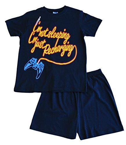 """Pijama con pantalón corto, texto en inglés """"I'm Not Sleeping I'm Just Recharging"""" para niños, 11 a 16 años, color azul Azul azul 15-16 años"""