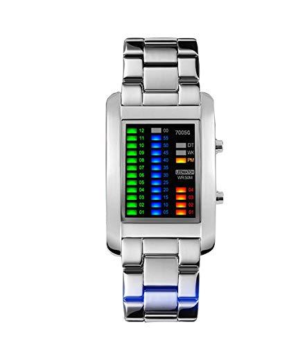 57-PAIOUPAIOU Einzigartige neuartige binäre Sport-Geschäfts-Armbanduhr der Männer für Männer, Edelstahl-Band-Uhren (Herren Armbanduhr Tag-datum-monat)