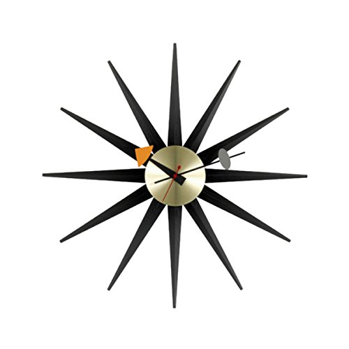 Vitra 20125305Sunburst Horloge murale Diamètre 47cm Noir/laiton