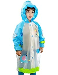 V4U Kids Girls and Boys, Portable Raincoat with Hood and Sleeves, Rainwear Carton Elephant Waterproof Hood Jacket for School Outdoors (Blue)-(Pack of 01)