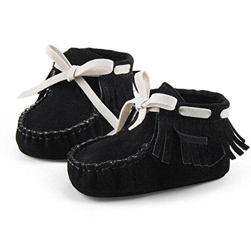 Sohle Schuhe Hunpta Säugling Schwarz Weiche Prewalker Baby Neugeborenes Stiefel Kleinkind Quaste Rw1Hgqwzx