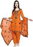 EthnicJunction Women's Rajasthani Mirror Work Chanderi Embroidery Unstitched Salwar Kameez Dress Material (EJ1180-88029, Pantone Orange, Free Size)