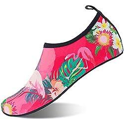 Mabove Chaussures Aquatique pour Femme et Homme Chaussures d'eau Chaussures de Plage de Yoga de Surf de Nager Sport Aquatique Chaussettes de Plongée pour Piscine et Plage(Flamant.Rose,35/36 EU)