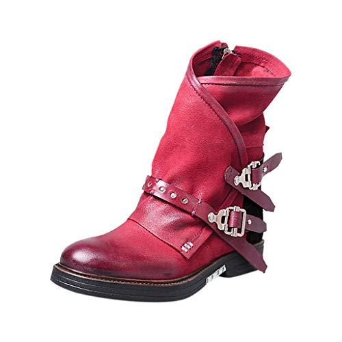 Chelsea Boots Damen Retro Leder Stiefel Stiefeletten Biker Boots mit Blockabsatz Schnallen Nieten Flandell Frauen Bequeme Schuhe mit Rutschfester Sohle Herbst Winter Casual Boots