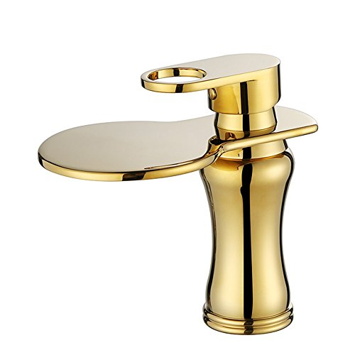 Professionelle Mundwasser (Tabletop Wasserfall Waschbecken Wasserhahn Gold Heißer Und Kalter Wasserhahn Einzigen Handgriff Einlochmontage XIAOQI)