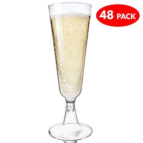 48 Copas Flauta para Champagne - Plástico Desechable – Vaso Alargado para Champán - Boda, Fiesta de Navidad, Cena, Celebración de Año Nuevo, Actividades y Eventos Al Aire Libre y Casa