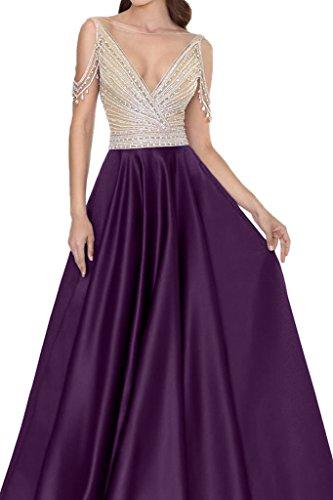 Ivydressing Damen V-Ausschnitt Steine Rueckenfrei Satin Partykleid Promkleid Festkleid Abendkleid Traube