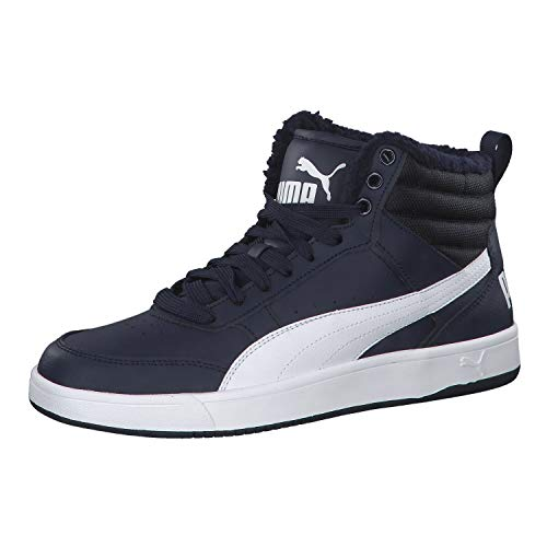Puma rebound street v2 fur sneaker a collo alto unisex – adulto, blu (peacoat white 06), 42 eu