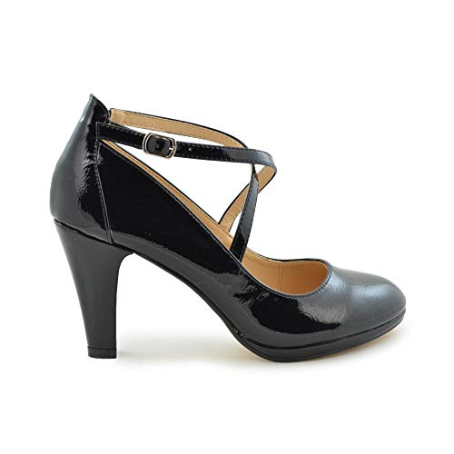 Zapato salón Tiras Cruzadas tacón Alto Charol Negro