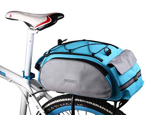 DCCN Gepäckträgertasche 13L Fahrradtasche Packtasche mit Schultergurt und Regenhülle - Blau