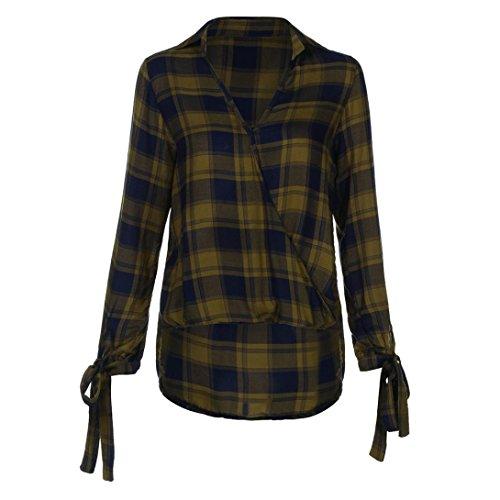 Tefamore Femmes Manche longue Imprimé à carreaux Sweatshirt Pullover Tops Chemisier Jaune