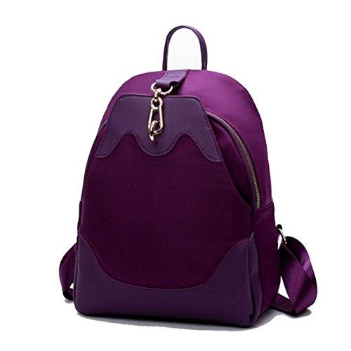 Donne Borsa A Tracolla Moda Stoffa Oxford Zaino Da Viaggio Purple