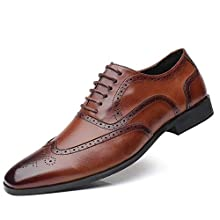 Brogues Shoes for Men Oxford Business Shoes Mens Leather Faux Lace Up Shoes Retro Smart Dress Shoes Wide Fit Wedding Office Flat Brown 12 UK