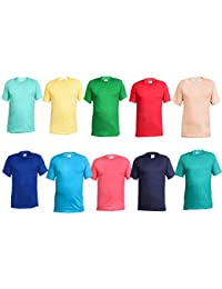 Krystle Pack of 10 Casual Round Neck Cotton Plain T-Shirts