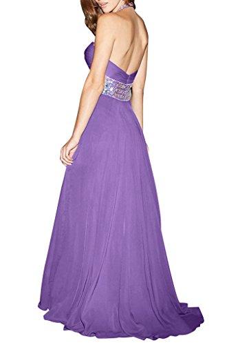 Ivydressing Damen Neckholder A-Linie Lang Chiffon Steine Festkleid  Abendkleid Violett